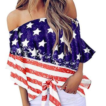 Hurrah for the USA Off the Shoulder Top