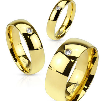 8mm Wedding Band Men's Ring Gold IP Stainless Steel with CZ