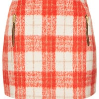 Orange Wool Check Skirt - Topshop