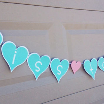 Miss to Mrs. Mint, White, and Blush Pink Heart Shaped Bridal Shower Banner