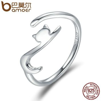 .925 Sterling Silver Cat with Long Tail Adjustable Ring