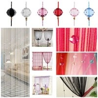 Tassel Curtain Door Windows Panel Curtain Crystal Beads Tassel Silk String Curtain Window Door Divider Sheer Curtains Valance