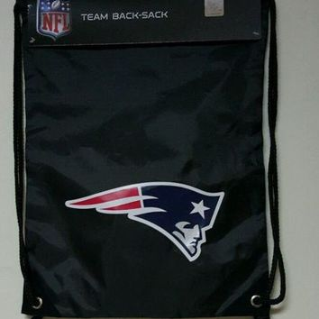New England Patriots NFL 18'' Black Big Logo Drawstring Backpack/Bag