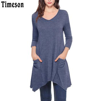 Womens V-Neck Asymmetrical Hem 3/4 Sleeve Knitted Long Tunic Tops with Pockets Black Casual Plus Size Shirt Solid Blouse Female
