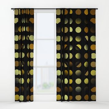 Golden moons dark circles Window Curtains by Natalia Bykova