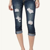 Destroyed Cuffed Crop Jeans