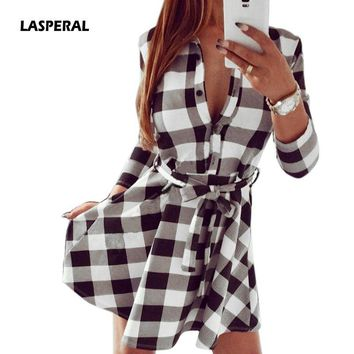 LASPERAL New Fashion 2018 Spring Casual V Neck Plaid Shirt Dress Women Mini Long Sleeve Bandage Slim Dresses Vestidos Plus Size