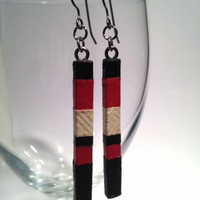 Red Black Hanji Paper Earrings OOAK Patchwork Striped Boho Delicate Earrings Hypoallergenic hooks Dangle Earrings Lightweight