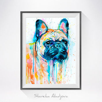 French Bulldog watercolor painting print, animal watercolor,French Bulldog art,French Bulldog painting, French Bulldog illustration, dog art