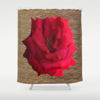 Gold Glitter Single Rose Flower Shower Curtain by Deluxephotos