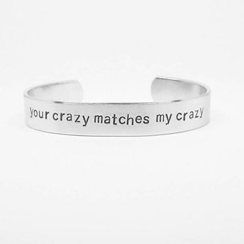your crazy matches my crazy: Deadpool romantic quote cuff bracelet for geeks in love