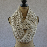 Ivory Tweed Black Brown Chunky Scarf Fall Winter Women's Accessory Infinity Ready To Ship In 10 Business Days