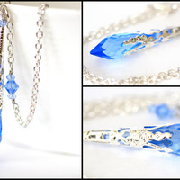 Swarovski Sapphire Necklace Blue Crystal Pendant Necklace Icicle Necklace Bridal Necklace Victorian Filigree Blue Bridesmaids Necklace