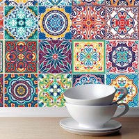 European  3D wallpaper Moroccan style wall stickers Waterproof kitchen toilet decoration classical pattern Living room murals