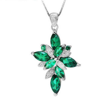 3.82ct Lab Created Green Emerald Flower-Cross Pendant – With Genuine 925 Sterling Silver