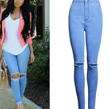Womens Cool Casual Rip Skinny Jeans