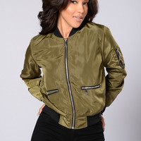 Me Against The World Bomber Jacket - Olive