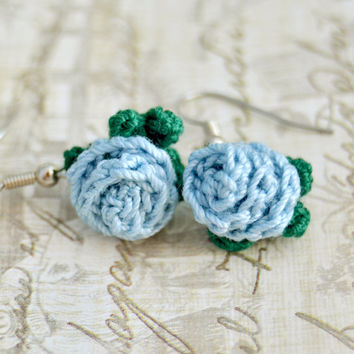Blue Flower Crochet Rose Earrings, Floral Nature, Womens Teen Kids Spring Summer Jewelry, Wife Girlfriend Mom Sister Daughter Friend Gift