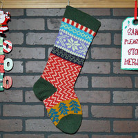 Christmas Stocking, Hand Knit with Deep Forest Green Cuff, Soft Fern Green Snowflakes and  Teal Trees, can be personalized