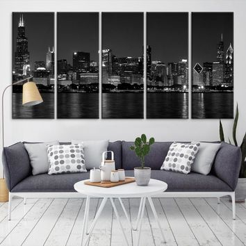 32616 - Chicago Wall Art Canvas Print - Extra Large Chicago City Night Canvas Print - Chicago Skyline Night Canvas Print