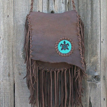 Fringed leather handbag Bohemian gypsy crossbody purse with beaded turtle totem Handmade leather crossbody bag with lots of fringe