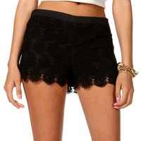 Sale-black Crochet Lace Shorts
