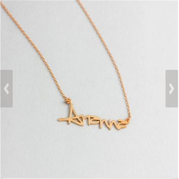 GORGEOUS TALE  Cute Stainless Steel Necklace Custom Name Personalise Pendant Collier Jewelry Charm Bijoux Chain Long Halskette