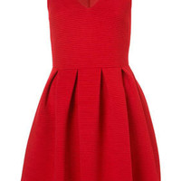 Cherry Twist Rib Skater Dress - Dresses  - Apparel
