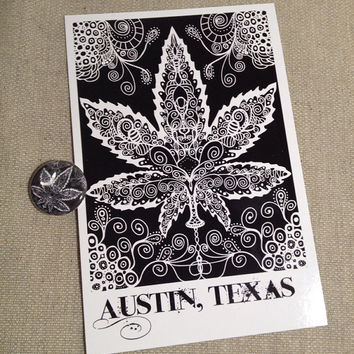 canibus leaf illustration on a one inch button and matching postcard