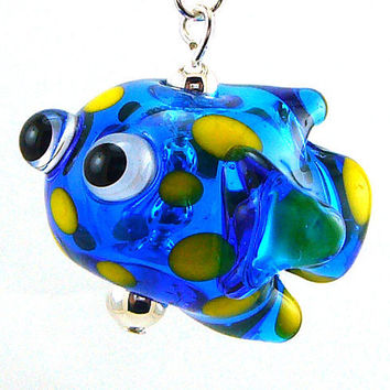 Spotted Blue Fish Hollow Lampworked Glass Bead by MercuryGlass