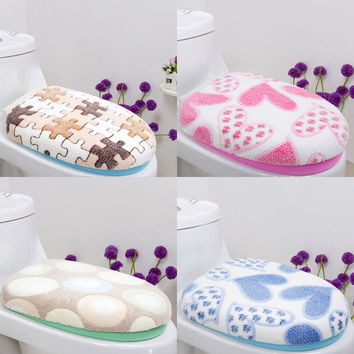 1Set Soft Coral Fleece Heart Toilet Seat Lid Clean Washable Twin Top Cover+O-Type Toilet Seat Cover Bathroom Cushion Pad Mat Set