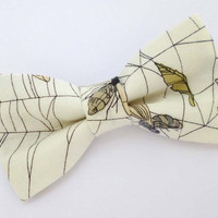 White bow tie, mens bow tie, Halloween theme bow tie, insect bow tie, cream pre tied bow tie