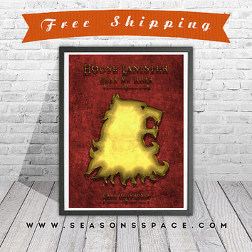 Game Of Thrones art print. House Lannister poster. Modern 3D art, Gold Lion Handmade poster.