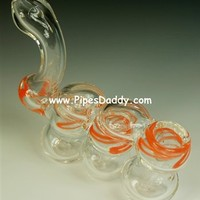 Orange Caterpillar Triple Glass Bubbler