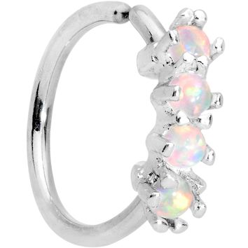 """5/16"""" White Synthetic Opal Royal Crown Tragus Cartilage Earring"""
