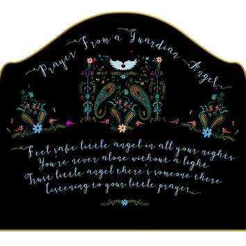 Wall Decal Headboard - Prayer From a Guardian Angel - Twin - Lite version