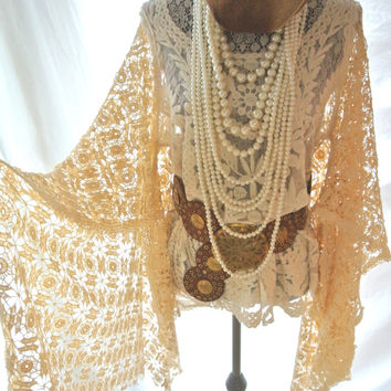 Boho chic top, bohemian crochet  tunic, gypsy, Stevie Nicks style, Boho clothing, Angel sleeve cowgirl shirt, coachella, true rebel Clothing