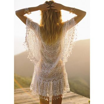 White Crochet Tassel Beach Coverup