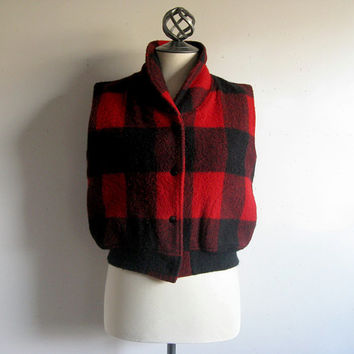 Vintage 1980s Wool Vest WOOLRICH Black Red Check Sleeveless Top Medium