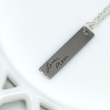 Custom Handwriting Necklace, Signature Necklace, Engraved Handwriting, Signature Bar Necklace, Handwriting Bar Necklace, Gift for Her