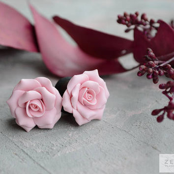 "Light Pink Rosebud flowers plugs,Ear piercing gauges 8,10,12,14,16,18,20,22,24,26,28,30mm;0g,00g;5/16"",3/8"",1/2"",9/16"",5/8"",3/4"",7/8"",1 1/4"""