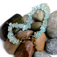 Vintage Aqua Bracelet - Ice Flake Chip Quartz.