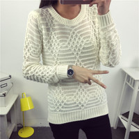 Hot New Autumn Winter Women Fashion Cotton Elastic Sweater Lady Knitted Long Sleeve O-neck Argyle Pullovers