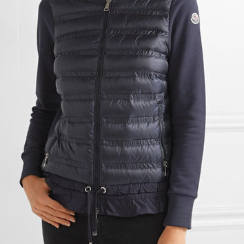 Moncler - Maglia quilted shell and French cotton-terry down jacket