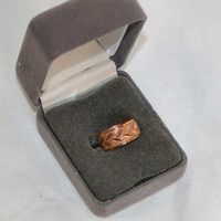 60s Copper Ring Band Vintage Hammered and Chased size 5