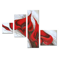Elegant Red Flower Canvas Wall Art Oil Painting