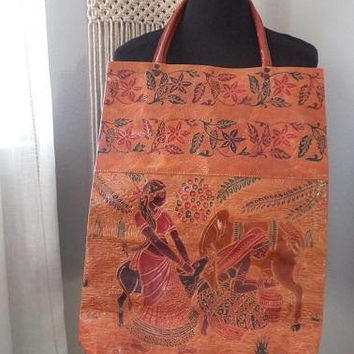 Vintage Tribal Sheepskin Leather Market Bag ~ Embossed Leather Carry All Tote Bag ~ BOHO Large Exotic Top Handle Bag