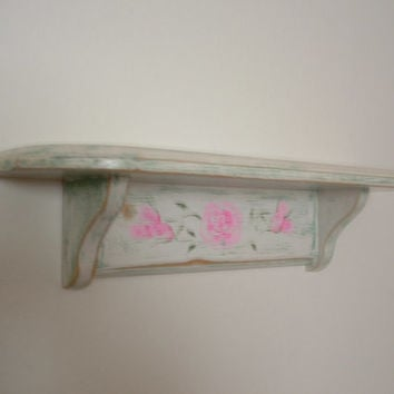 Vintage Wood Shelf Beachy Cottage Chic Style Book Shelf Kitchen Spice Rack Distressed Hand Painted with Pink Roses by CapeCats