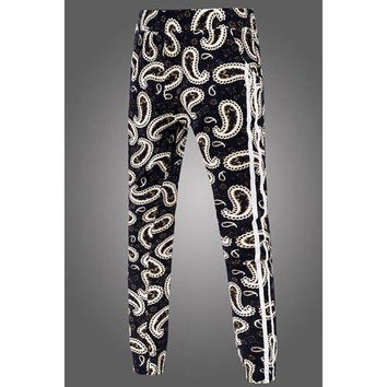 Stripes Spliced Color Block Paisley Print Fitted Narrow Feet Elastic Waist Men's Jogger Pants