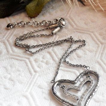 Retired Brighton Love Struck Silver Crystal Open Reversible Double Heart Necklace in Tin